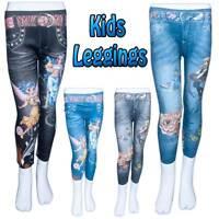 Kids Girls Printed Skinny Jean Look Fit Style Fashion Leggings Size 3-7 Years