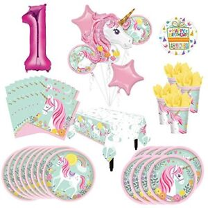Mayflower Products Magical Unicorn Party Supplies 8 Guests 1st Birthday Balloon