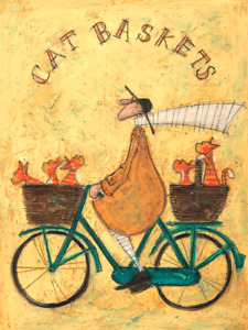 Sam Toft Cat Baskets Canvas Art Print Mounted Wooden Frame Picture Ginger Cats