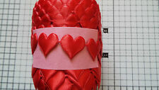 2m- Red Heart Motif, Trimmings,Applique,Wedding, Satin Lace Ribbon - W-23mm