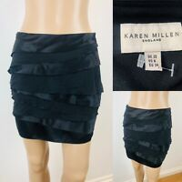 Women's KAREN MILLEN Black Short Mini Skirt Size 10 Frill Luxurious Soft Silk
