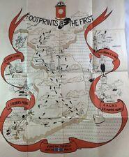 Original Korea War Era Military Poster Theater Art Map Footprints of the First