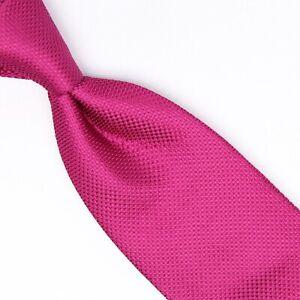 Gladson Mens Silk Necktie Solid Magenta Textured Weave Woven Tie Made in Italy