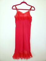 Vtg Henson Kickernick Sz 34 Red Pink Full Slip Nightgown Negligee Sheer Bust
