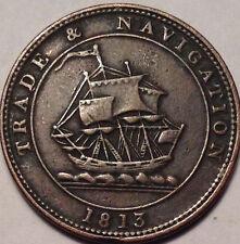 1813 NOVA SCOTIA HALF PENNY TOKEN TRADE AND NAVIGATION MAGNIFICENT !!