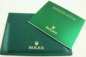 New Authentic Rolex Green Leather Certificate Card Holder Wallet Rare