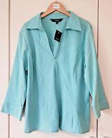 Collection Women's Shirt Blouse Size 18 Blue V Neck Debenhams Smart Evening New