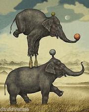 Balancing Elephants vintage print reproduction ACEO Canvas art card Print