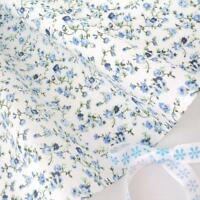 10 m/Meter Molly - weiß/blau Blumen vintage Baumwollstoff Retro