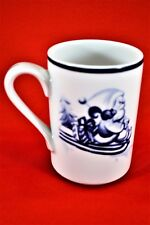 Blue Dansk Bistro Christmas Mug - Santa on Sled