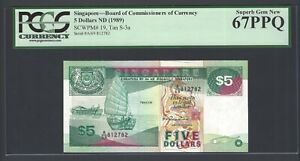 Singapore 5 Dollars ND(1989) P19 Uncirculated Graded 67