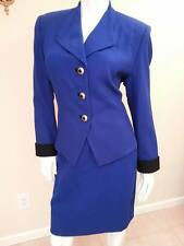 Womens Suit VINTAGE Kasper Royal Blue Wool Dress Business Suit 10 Petite Skirt