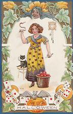 Vintage Halloween Postcard Witch Black Cat Silver Bat Pumpkin Cat Dress Embossed