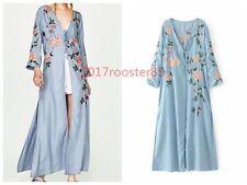 Bohemian Women Floral Embroidered Blue Kimono Top Blouse Long Cardigan Coat