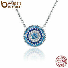 Bamoer Authentic S925 silver Necklace Blue CZ Rhythm Pendant For Women Jewelry