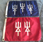"""Vintage Nautical Flags Red Double Trident Blue Triple Trident 12""""x18"""""""
