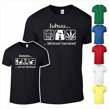 Junggesellenabschied 001 T-Shirt JGA Hochzeit Party Wunschname Fun Kult  Shirt