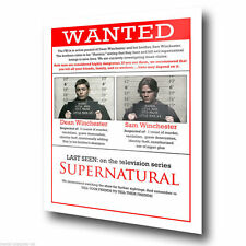 WANTED SAM DEAN WINCHESTER SUPERNATURAL METAL SIGN WALL PLAQUE art print poster