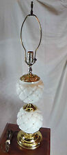 Vintage Mid-Century Brass & Milk Glass Pin Cushion Design Table Lamp