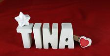 Beton, Steinguss Buchstaben 3D Deko Namen TINA als Geschenk verpackt!