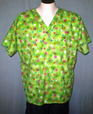 Scrub H.Q. Green XL Scrub Top Flowers Polka Dots Cotton Blend