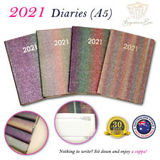 2021 Diary A5 Week To View Glitter Rainbow Cover w Elastic Rounded Edge Planner