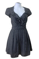 Pagani size 8 Black & White Polka Dotted Fit N Flare V Neck Knee Lgth Dress Poly