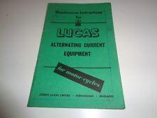 Instrucciones de mantenimiento para equipos de corriente alterna de Lucas