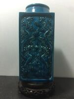 Fine Antique Turquoise Blue Porcelain CHINESE SQUARE VASE On Wood stand, Drilled
