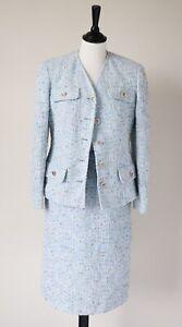 Collarless Jacket  Skirt Suit - Vintage  - Boucle - Chanelesque - UK 10 / 12