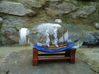 Victory Ship In A Glass Bottle Model On Stand Lots Detail Nice Nautical Boat