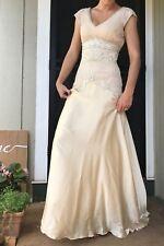 Sue Wong Fit & Flare Beaded Ivory Wedding or Formal Dress Deep V Cap Sleeve Sz 2
