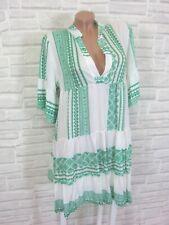 Hippie Blogger Hängerchen Kleid Tunika Volant Print 36 38 40 42 Weiß Grün K133