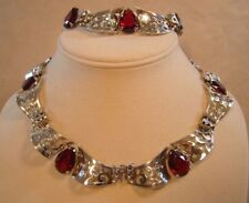 Marcel Boucher Parisina 925 Sterling Silver Necklace & Bracelet Vintage Antique