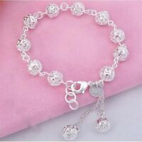 925 Sterling Silver Women's Hollow Beads Elegant Bracelet Bangle D27