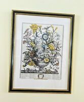 "VTG Robert Furber Sept Framed 24""x18"" Botanical Etching 12 Months of Flowers"