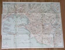1927 ORIGINAL VINTAGE CITY MAP OF GENOA / GENOVA / LIGURIA ITALY