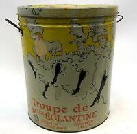 Vintage Sherry Lehmann NYC Troupe De Mile Eglantine Le Can Can Lautrec Style Tin