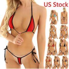 US Sexy Women's Micro Bikini Swimsuit Set Bra Top G-String Lingerie Underwear