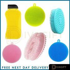 Premium Silicone Dish Washing Brush Sponges Scrubber Pot Pan Kitchen Cleaning UK