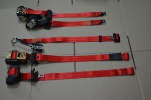 Juego de 5 cinturones de seguridad  Rojos 25th style Vw Golf Mk3 3p seatbelt