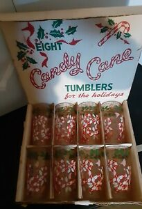 VINTAGE SET  8 CANDY CANE & HOLLY CHRISTMAS TUMBLERS DRINKING GLASSES IN BOX