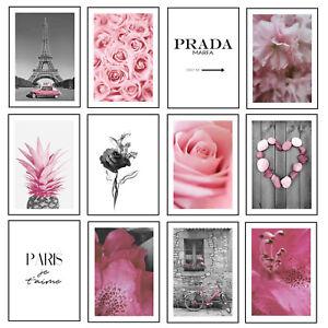 Pink Prints Paris Flowers Modern Wall Art Roses Pineaple Posters Home Decor