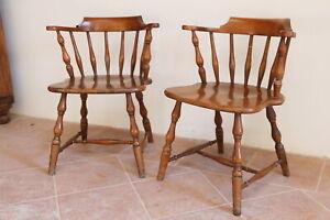 coppia sedie windsor antiche inglesi 900 XX secolo legno poltrone capitano pub