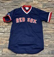 YOUTH Vtg Majestic Boston Red Sox Mesh Jersey Sz M V Neck Fenway
