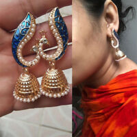1 Pair Retro Indian Peacock Jhumka Jhumki Drop Earrings Gypsy Women Jewelry