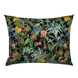 Tropical Birds Flower Jungle Blue Heron Vintage Flowers Pillow Sham by Roostery