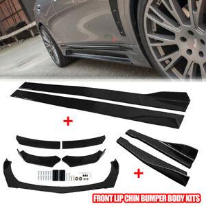 "Carbon Fiber 86"" Side Skirt Extension + Car Front Rear Bumper Lip Splitter - US"