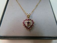 """Vtg 10K Gold Ruby and Diamond Pendant on 18"""" Chain Necklace"""