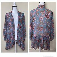 Womens Size XL Open Front Top Kimono Duster Floral Semi Sheer Medium Length